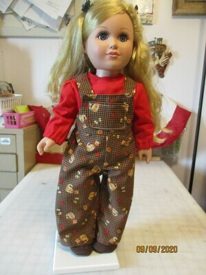 Bib Overalls with Long Sleeve Blouse & Matching Slip On Shoes for 18
