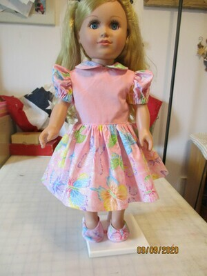 Sparkly Butterflies on Glittery Pink Doll Dress for 18