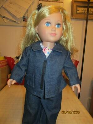 Dark Blue Denim Bib Overalls, Jacket, Shoes, with Floral Blouse for 18