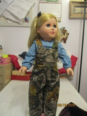 4 Piece Camouflaged outfit with Bib Overalls, shirt, Hooded Jacket and Boots for 18