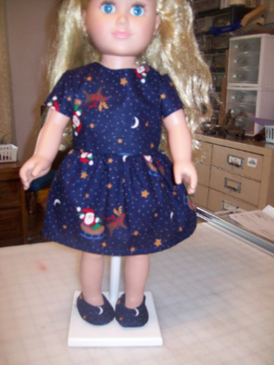 Christmas Outfit Dress Dark Blue with Santa Clause Print. Fits 18