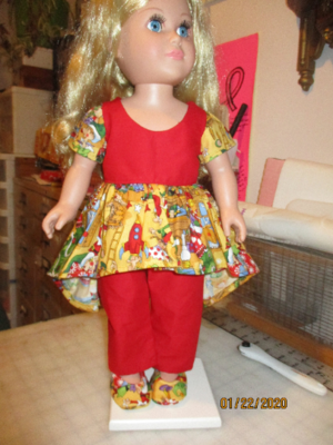 Holiday Dress Santa's Workshop Print with Red Pants and Slip on Shoes. Fits 18