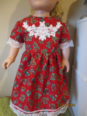 Christmas Dress, trimmed in Embroidered white Lace, Red Panties, and Slip On Shoes, Fits 18