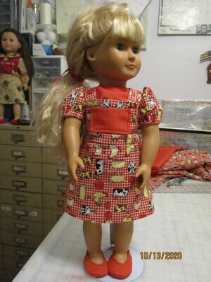 Bright Red Checkered Bib Jumper with Matching Shirt For 18