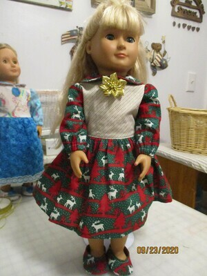 Christmas Print Red Green Silver & Gold Dress for 18