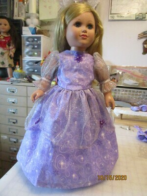 Glittery  Purple & White Princess Dress For 18