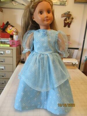 Blue & White Glittery Princess Ballroom doll Dress for 18