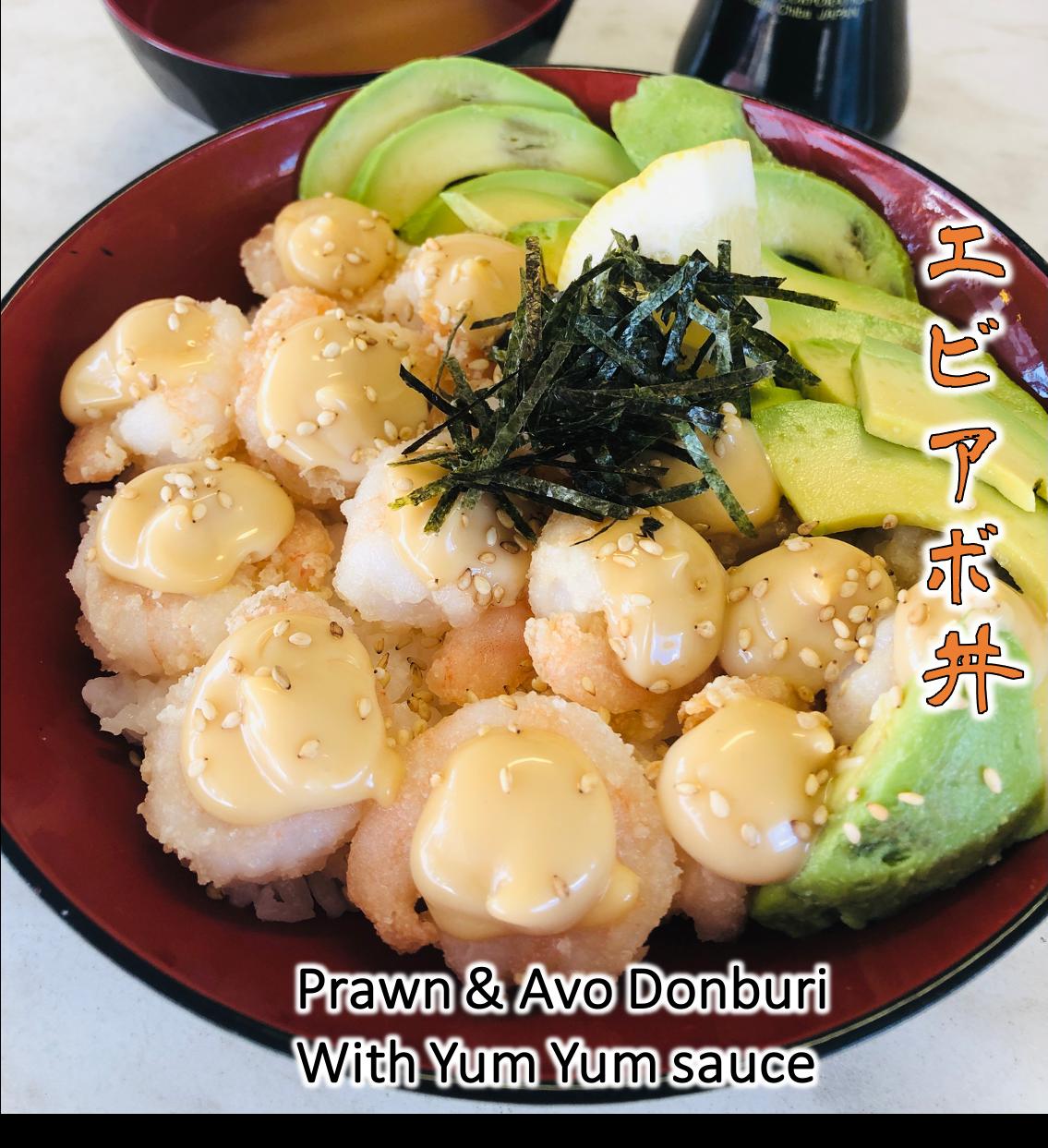 Prawn & Avo Donburi with Yum Yum sauce