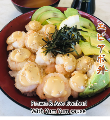 Prawn & Avo Donburi with Yum Yum sauce