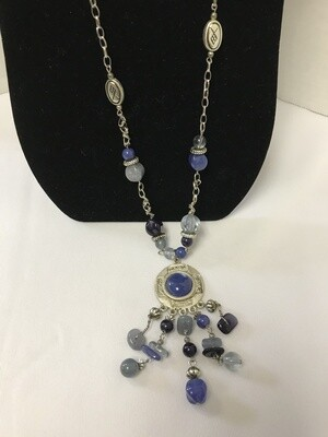 Blue & Silver Hanging Medalion Necklace