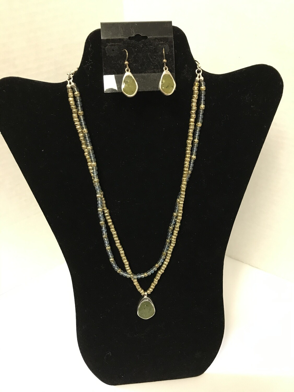 Green, Blue, & Gold Double Necklace w/ Earrings Set