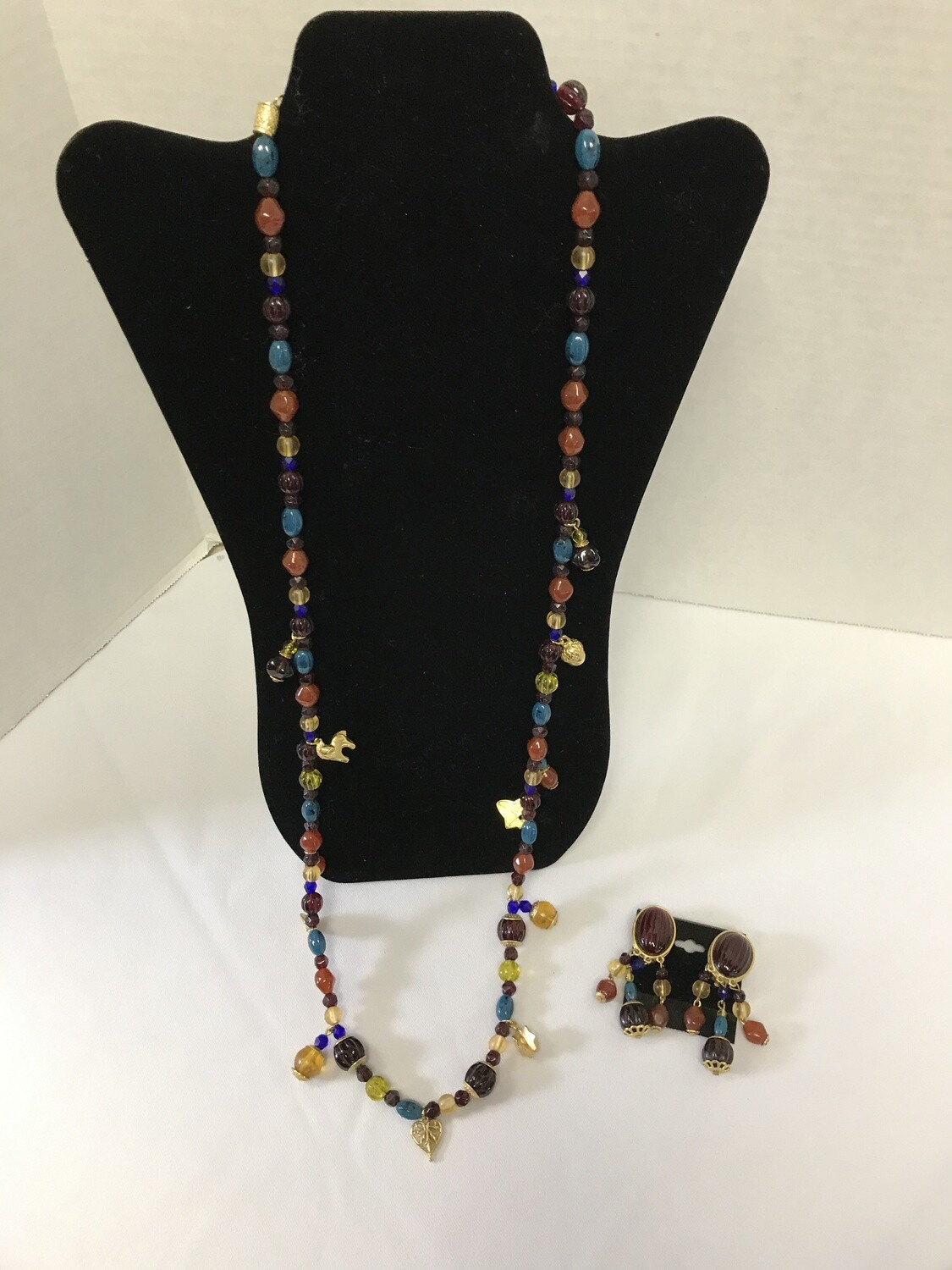 Multi-Colored Beaded Necklace w/ Clip-On Earrings Set