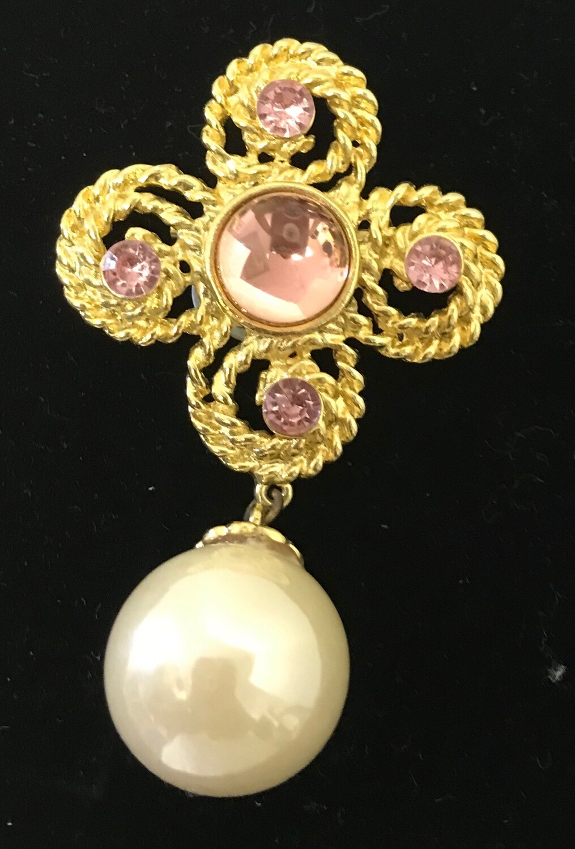 Pink & Gold w/ Pearl Drop Brooch