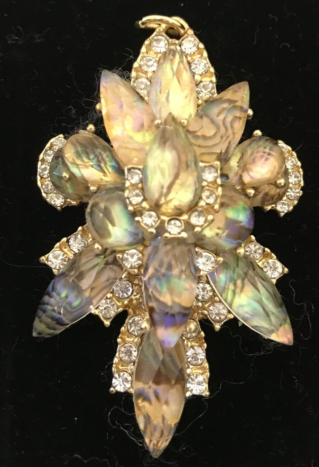 Large Crystal and Rhinestone Brooch