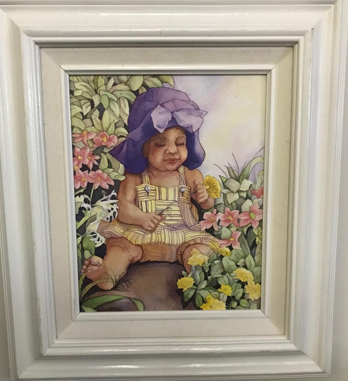 Baby in Purple Hat in Garden Framed