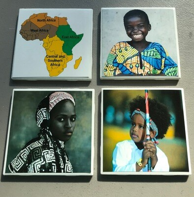 4 pc Africa Coaster Set includes holder