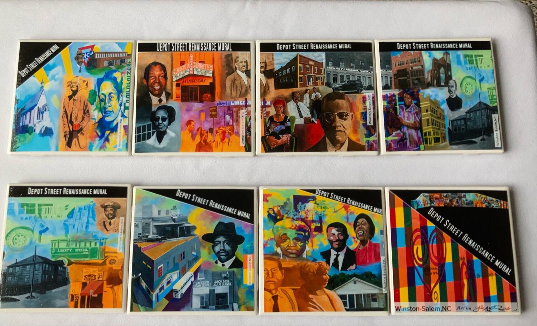 Depot Street Renaissance Mural 8 Coaster set by Leo Rucker