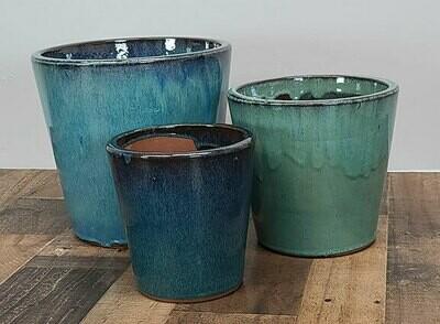 Ceramic tapered pots 'Fireworks Green'