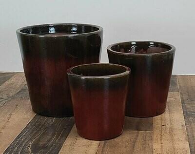 Ceramic tapered pots 'Oxblood'