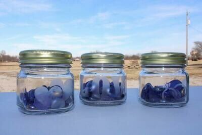 Baby Jars with Blue Pebbles
