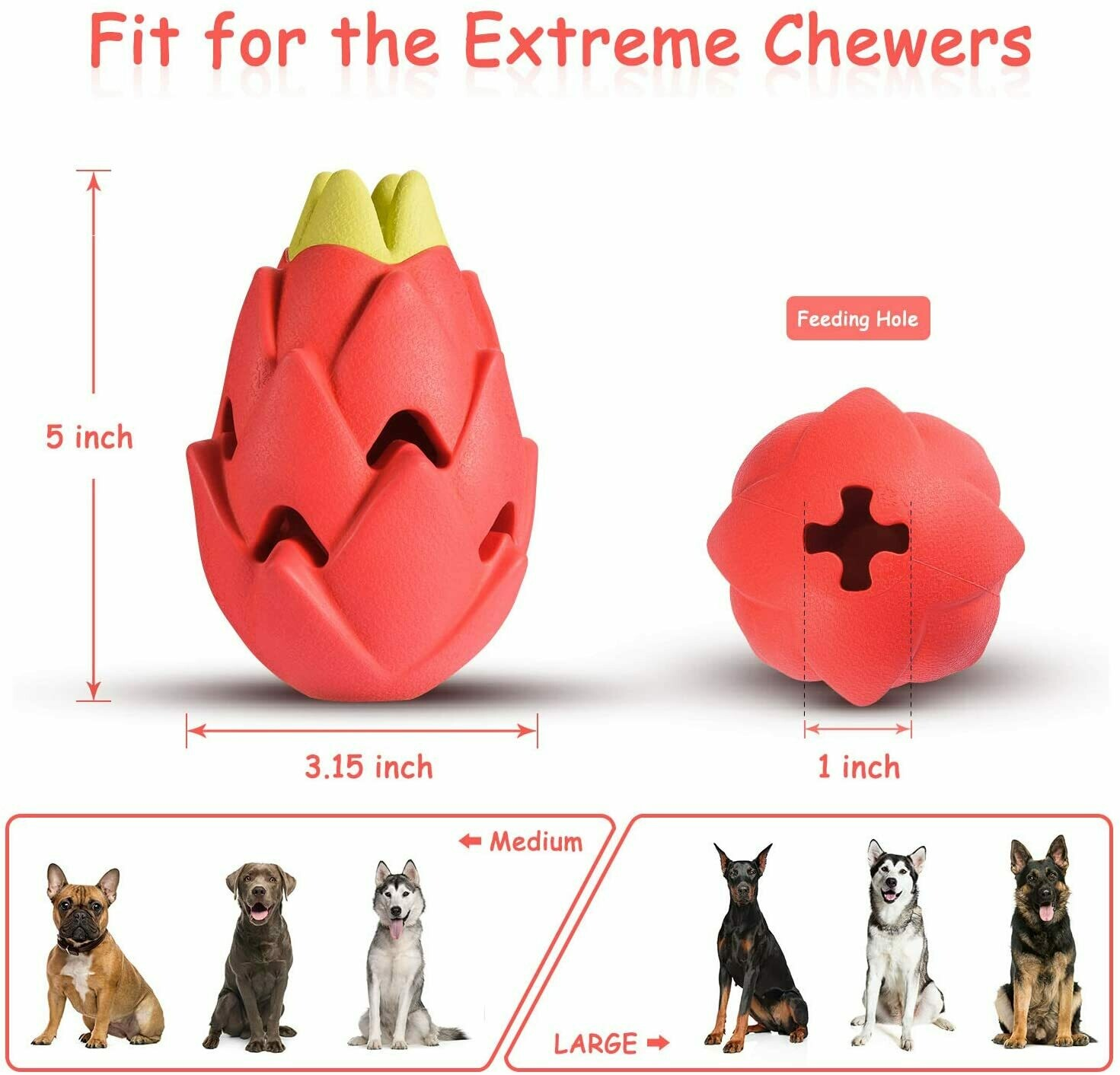 Cutiful Dog Toys for Aggressive Chewers Large Medium Breed Dog Chew Toys Dog Toothbrush Nearly Indestructible Squeaky Interactive Tough Extremely Durable Treat Dental Toys for Medium Large Dogs