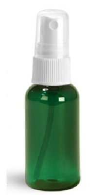 1oz (30ml) Green PET Boston Rounds Plastic Bottles with White Fine Mist Sprayers