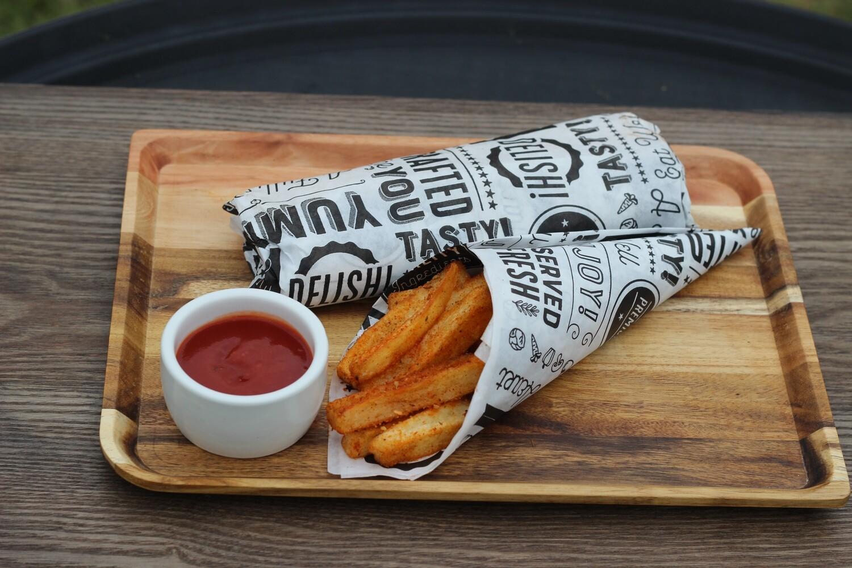 Chargrill Goat Seekh kabab wrap Homemade masala fries tomato ketchup