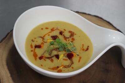 Dal Taseer   lentil soup (vegetarian) Red Lentil   vegetable   chili Oil   Micro Green