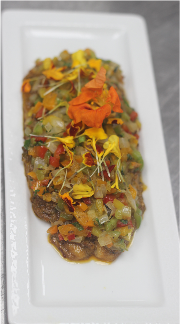 Machli  | Roasted fish fillet  Spicy Pangasius fish | mix pepper | micro green