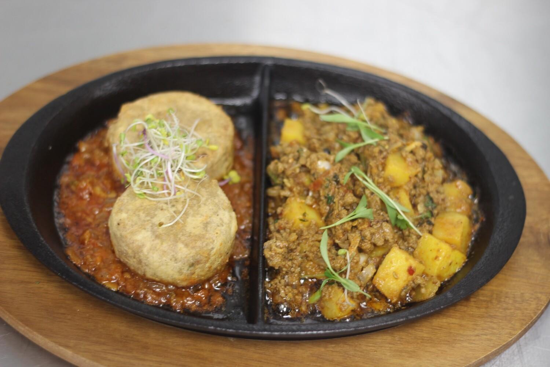 Shahi Beef Aloo Qeema Plus Beef Shami kabab (kohinoor special sizzler)