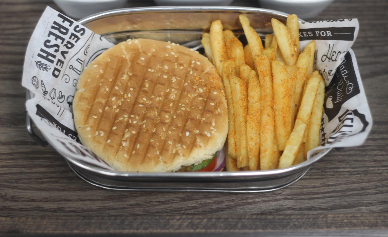 Bun kabab | Potato vegetable burger  Fried potato cake | fresh cucumber | tomato | lettuce | ketchup | mayonnaise
