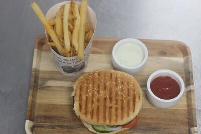 Beef  Bun Kabab Homemade masala fries tomato ketchup  Tomato | Cucumber | onion  | Yoghurt  Sauce | spicy chutney