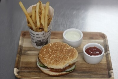 Chicken Bun Kabab Homemade masala fries tomato ketchup  Tomato | Cucumber | onion | Yoghurt  Sauce | spicy chutney