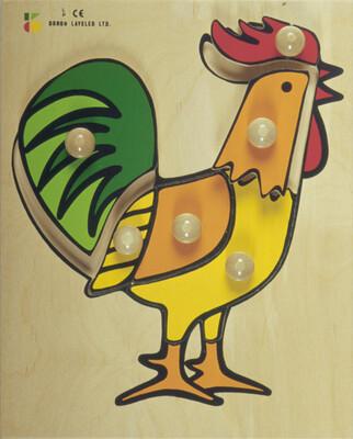 פזל כפתור עץ תרנגול