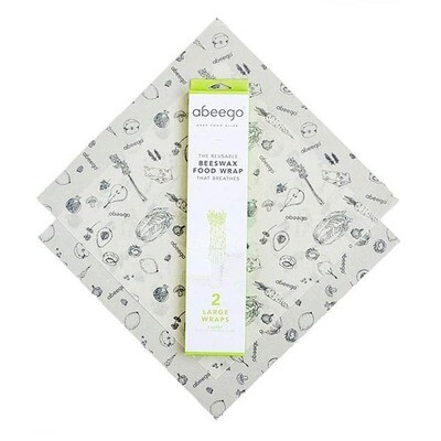 ABEEGO 2 Large Reusable Beeswax Food Wraps