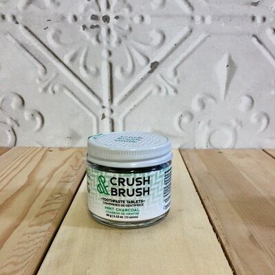 CRUSH & BRUSH Toothpaste Tablets Mint Charcoal