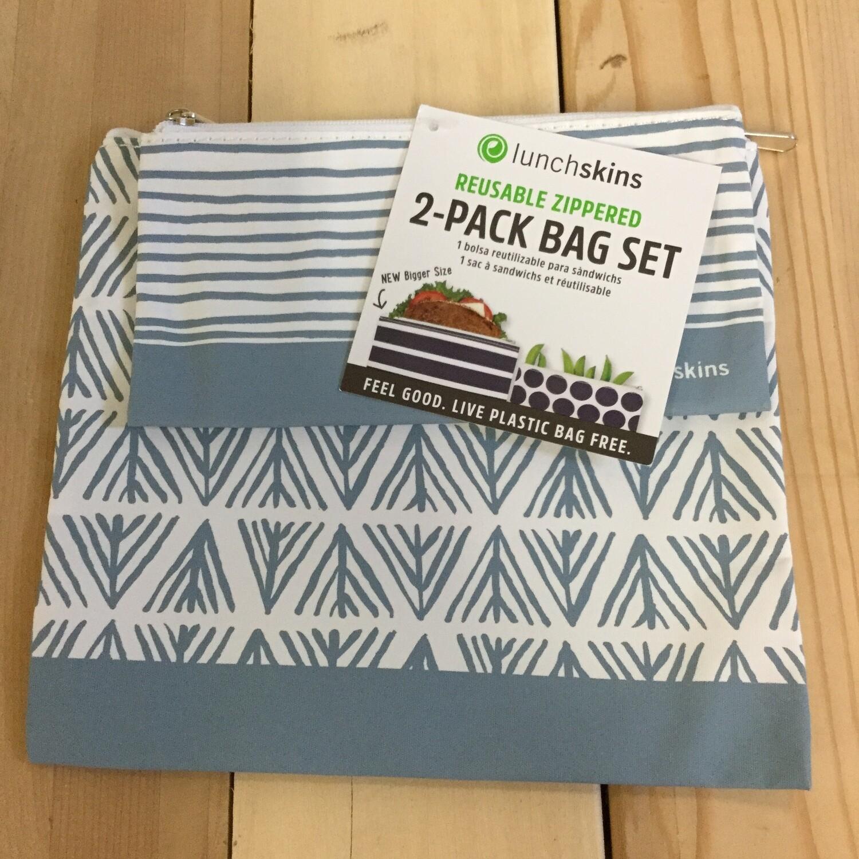 LUNCHSKINS Reusable Bag Set - Blue Geo