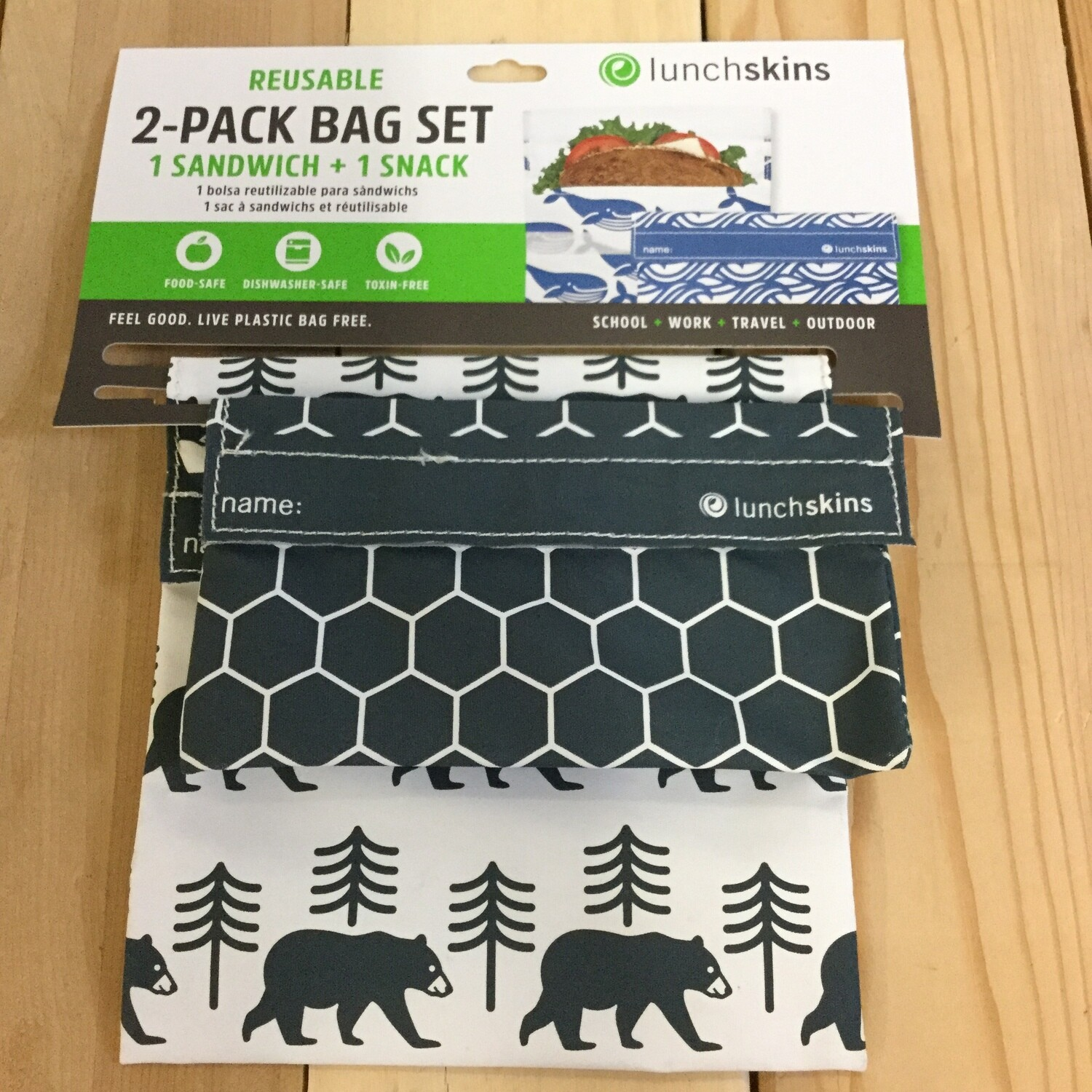 LUNCHSKINS Reusable Bag Set - Bear
