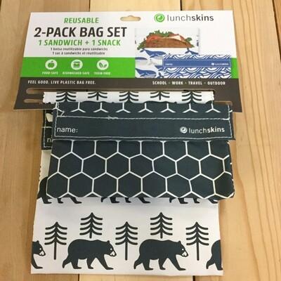 LUNCHSKINS Reusable Bag Set - Bear