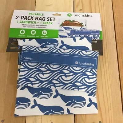 LUNCHSKINS Reusable Bag Set - Whale