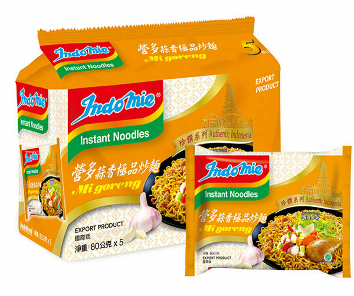 Indo Mie Goreng NEW !!!!- Garlic Flavor - Pack Of  5