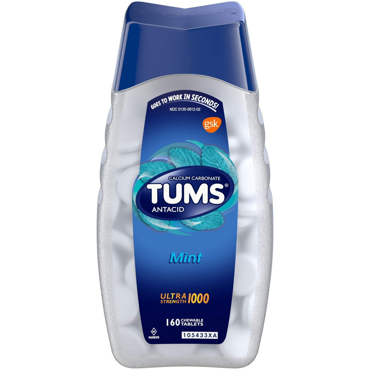 TUMS ULTRA STRENGTH 1000  Antacid Jumbo Pack of 160 Chewable Tablets - PEPPERMINT (GLUTEN FREE)