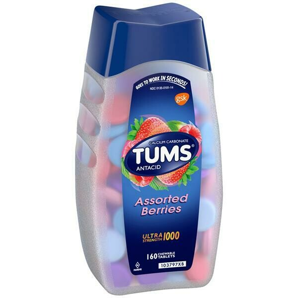 TUMS ULTRA STRENGTH 1000 Antacid Jumbo Pack of 160 Chewable Tablets - Assorted Berries (GLUTEN FREE)