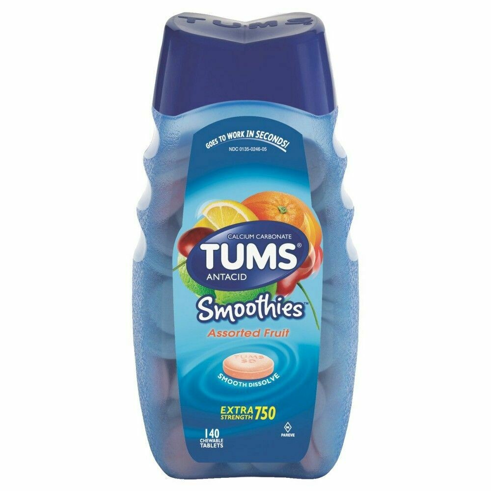TUMS EXTRA STRENGTH 750 Jumbo Pack of 140 Tablets - SMOOTHIES (GLUTEN FREE) - Dissolve in Water