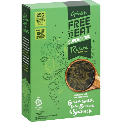 Cybele's Rotini Gluten Free Green Lentil, Kale, Broccoli & Spinach Pasta 227g
