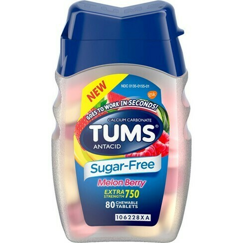 TUMS - Sugar Free - 80 Tablets - Melon Berry (GLUTEN FREE)