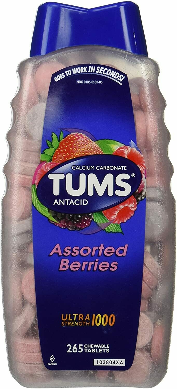 Tums Ultra Strength 1000 Jumbo Pack 265 Tablets - Assorted Berries (GLUTEN FREE)
