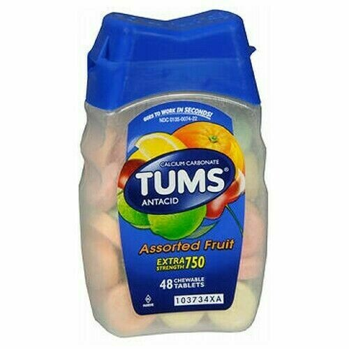 Tums Extra Strength 750 - 48 Chewable Tablets (GLUTEN FREE)