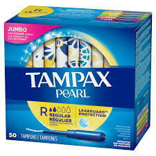 Tampax Pearl Tampons with Plastic applicator - 50pcs Jumbo Pack