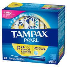 Tampax Pearl Tampons with Plastic applicator - 50pcs Jumbo Pack